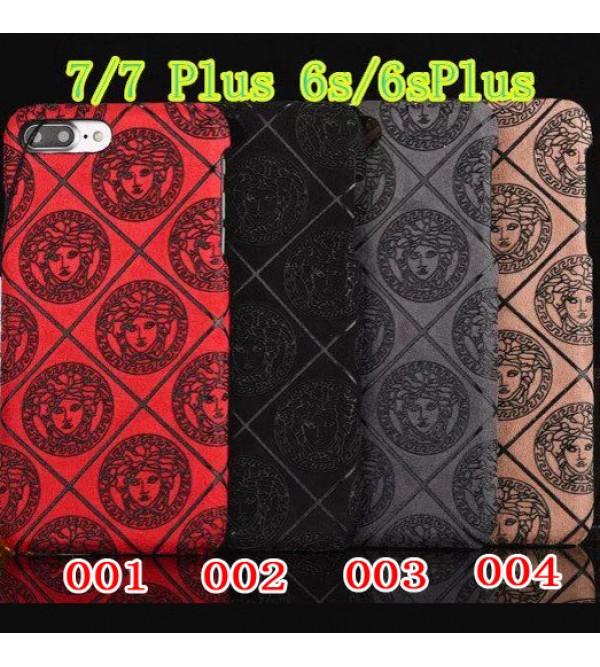 VERSACE アイフォン7プラスカバー ジャケット iPhone8/8 plusケース ヴェルサーチ スエード ブランド アイフォン7/6/6s ペア