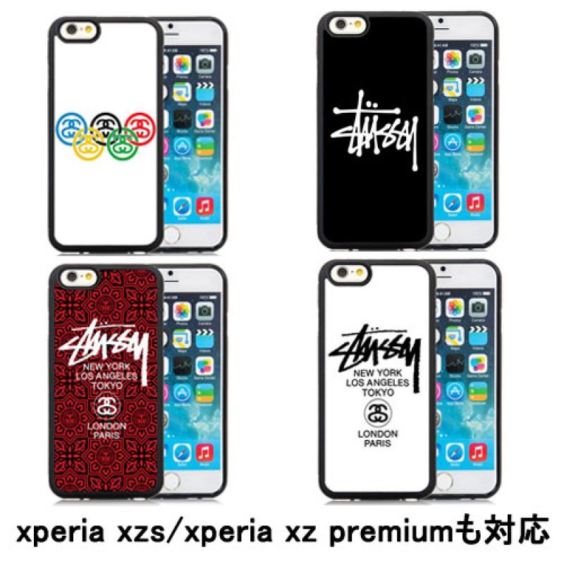 Stussy アイフォンxsマックスケース iphone xr/xs/11 proカバー xperia xz premium/xzsブランドケース SO-03J/SOV35 SO-04J エクスぺリア XZ/X Compact ジャケット Galaxy S7//S8/S6edge ペア ステューシー Xperia X performance 高品質