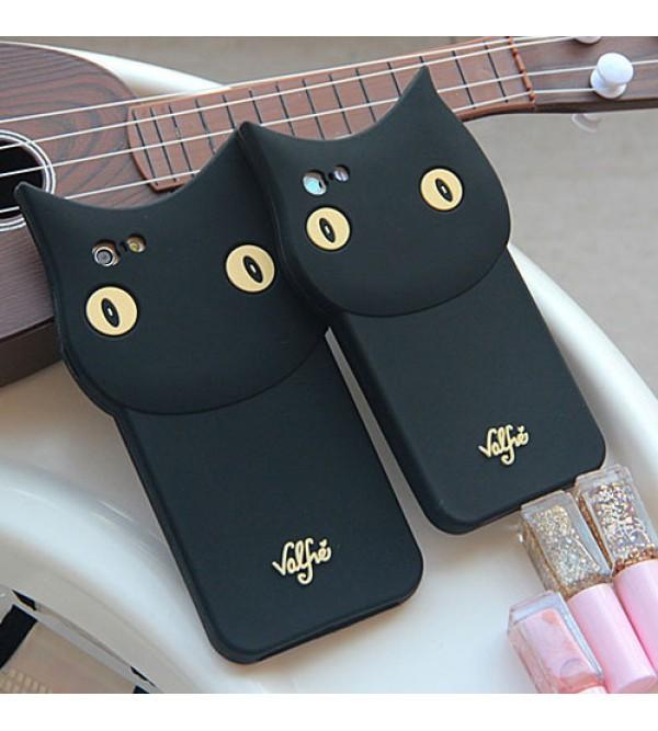 iphone 12 ケースValfre アイフォン7プラスカバー 可愛い iPhone6/6s plusケース 猫柄 アイフォン7/6/6s ブラック シリコン製 ヴァルフェー iPhone7 plusケース 女性向け