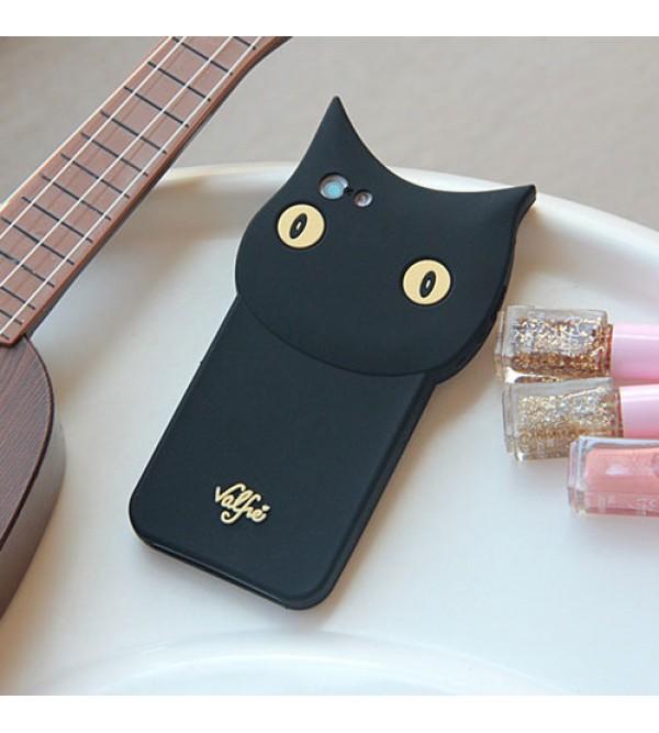 Valfre アイフォン7プラスカバー 可愛い iPhone6/6s plusケース 猫柄 アイフォン7/6/6s ブラック シリコン製 ヴァルフェー iPhone7 plusケース 女性向け