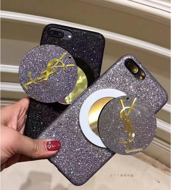 iphone8 plusケース イブサンローラン ブランド アイフォン8/7カバー ジャケット キラキラ iphone6/6s plus ysl 鏡つき 女性向け 彼女プレゼント