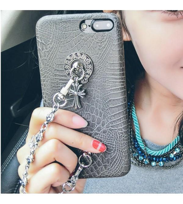 iphone 12 ケース欧米風 iphone xr/xs max/xケース iphone8ケース ブランド クロムハーツ iphone7/7 plus 6/6s plusカバー chrome hearts ジャケット アイフォン6/6s チェーン付き 鮫肌 女性向け