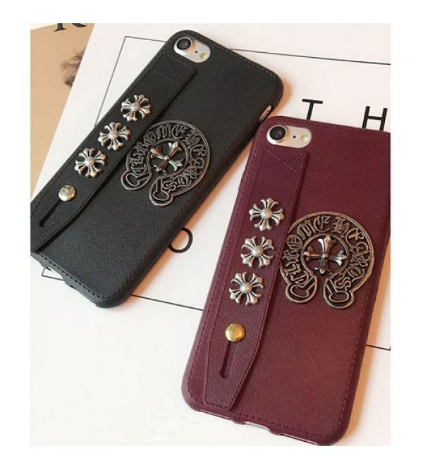 iphone8ケース クロムハーツ アイフォン7/7プラスカバー ジャケット chrome hearts ブランド iphone6/6s plus iphone6/6sケース ハンドベルト付き カッコイイ