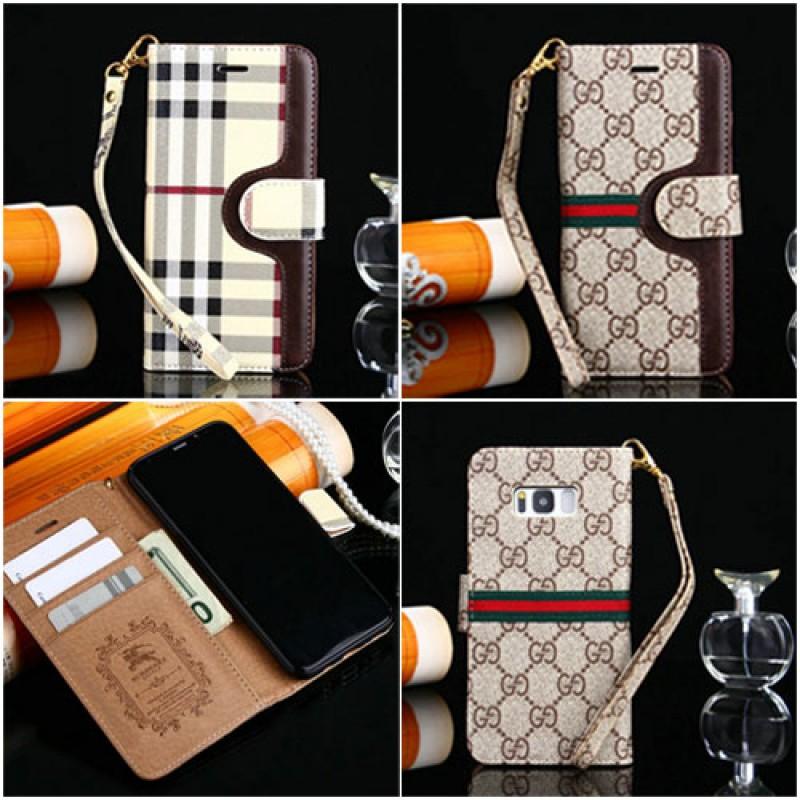 バーバリー iphone12ケースギャラクシーS9+/s9 ケース ブランドケース 革製 Galaxy S8+/s8携帯ケース グッチ アイフォン8/8プラスカバー iPhone se2/7/7 plus/6/6s plusケース 手帳型 ストラップ付き