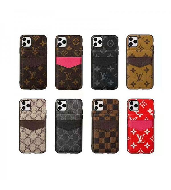 ルイヴィトン iphone xr/xs/xs max/11r/11proケースカードポケット付き 二重 グッチ iphone8/7plusケース galaxy s20/s20+/note10 plus/s10ケース人気 便利 激安