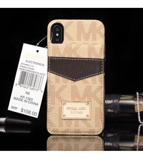 マイケルコース MK iphoneX/8/8plusケース 二重カードポケット付き 便利 縦開き ゴールドロゴ