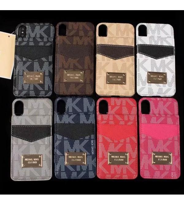 iphone12ケースマイケルコース MK iphoneX/8/8plusケース 二重カードポケット付き 便利 縦開き ゴールドロゴ