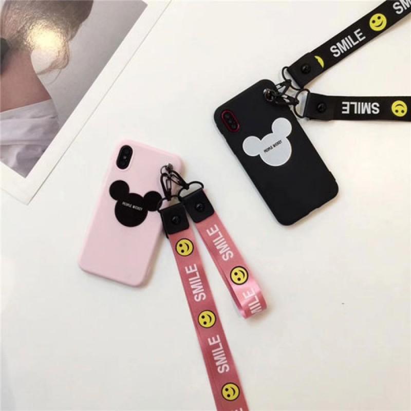 iphone 12 ケースMickey iphoneX/8/8plusケース ジャケット iphone7/7plusカバー 簡単便利 ピンク+ブラック Disney ストラップ付きpair