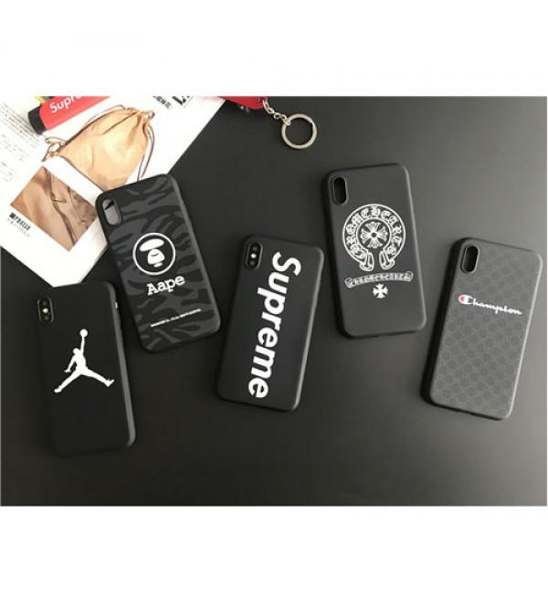 シュプリーム ジョーダン iphoneX/8/8plusケース Aape風 クロムハーツiphone7/7plusカバー ジャケット  スポーツ風 ブラック