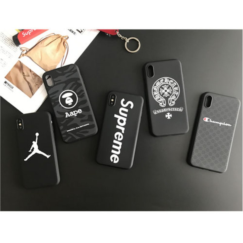 iphone 12ケースシュプリーム ジョーダン iphoneX/8/8plusケース Aape風 クロムハーツiphone7/7plusカバー ジャケット  スポーツ風 ブラック