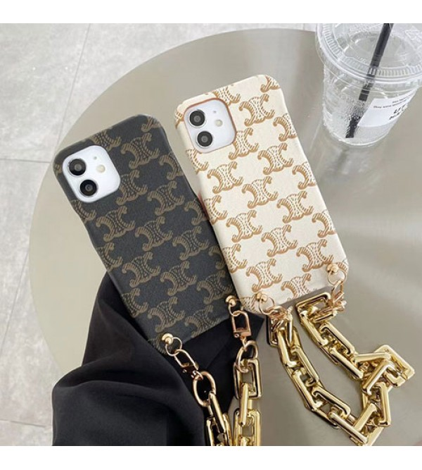 Celine ブランド iphone 13 mini/13 pro/13/13 proケース ペアお揃い モノグラム セリーヌ アイフォン13/12/11/xs/x/8/7/se2ケース ストラップ付き iphone xs/11/8 plusケース ビジネス おまけつき レディース