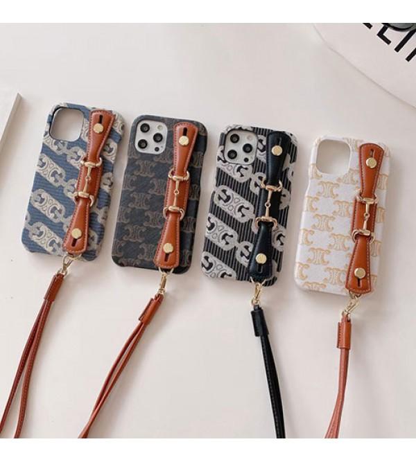 Celine ブランド iphone 13 mini/13 pro/13/13 pro maxケース ストランプ付き ハンドバンド セリーヌ 経典 モノグラム アイフォンiphone13/12/11/x/8/7 plusケース おまけつき ファッション メンズ レディース