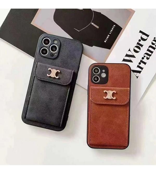 CELINE ブランド iphone 13 mini/13 pro/13 pro maxケース セリーヌ カード入れ ポケット付き アイフォン13/12/11/x/xr/xs/8/7カバー レザー iphone x/8/7plusケース ファッション メンズ レディーズ