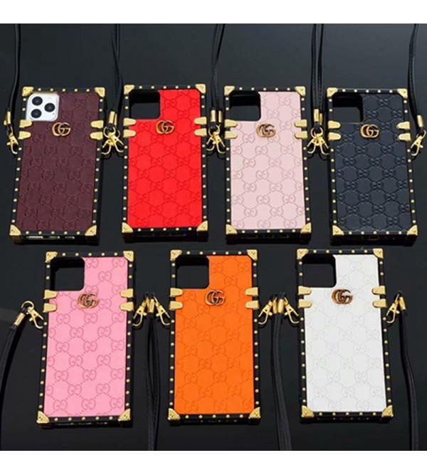 GUCCI ブランド iphone13/13 mini/13 pro max/13 proケース 可愛い トランク型 グッチ ストランプ付き 個性 フレーム ハイブランド アイフォン13/12/11/x/xs/xr/8 plusカバー おまけつき ファッション レディース