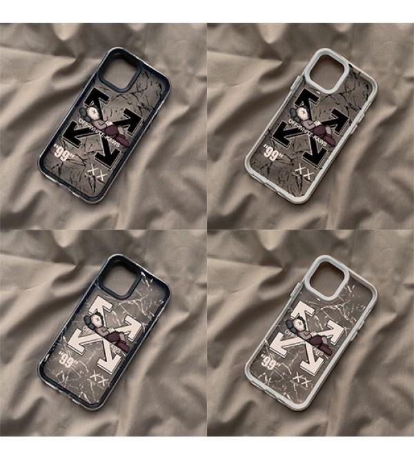 オフホワイト カウズ コラボ iphone13 pro max/13 mini/13/13proケース ブランド ジャケット型 クリアケース お洒落 off-white x kaws アイフォン13プロ/13ミニカバー ファッション メンズ レディース
