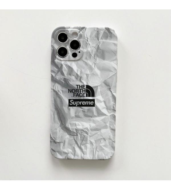 シュプリーム ザ·ノース·フェイス 経典 コンボ iphone 13 pro/13 pro max/13 miniケース ブランド 個性 Supreme & The North Face 石柄 潮流  韓国風 アイフォン13/12/11/se2/x/xr/xs/8/7カバー 黒白色 メンズ レディーズ
