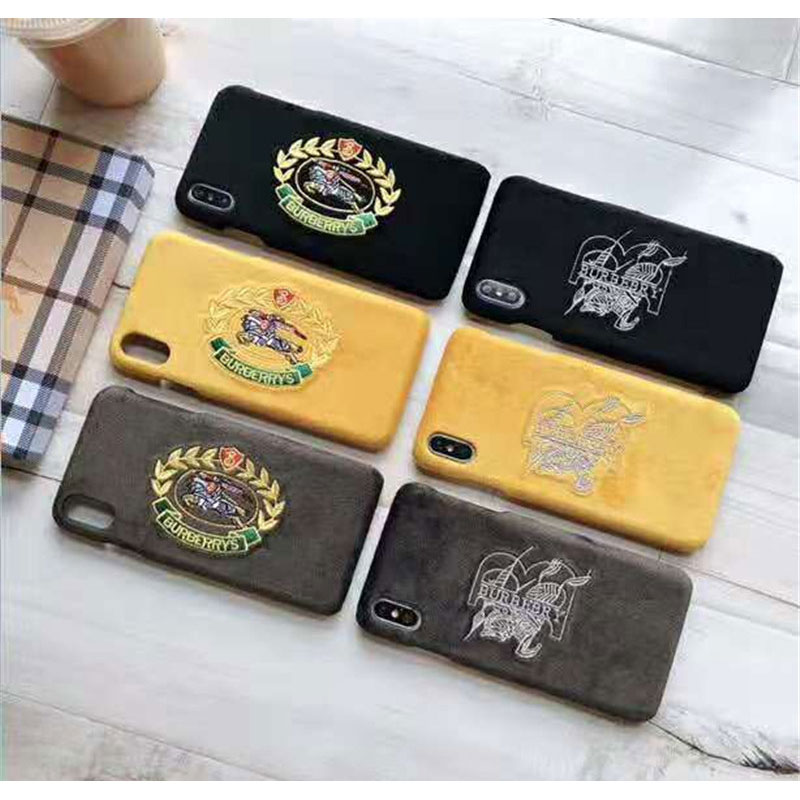 オシャレ刺繍 iphone 10s/11 max/XIケース バーバリー