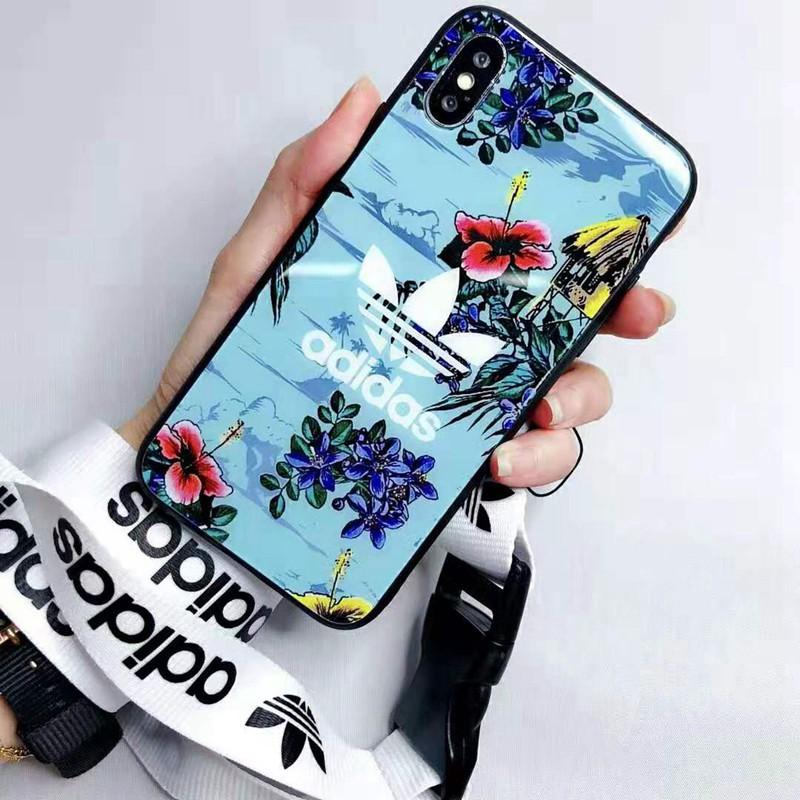 オシャレ花柄 iphone xr/xs maxケース アディダス スポーツ風