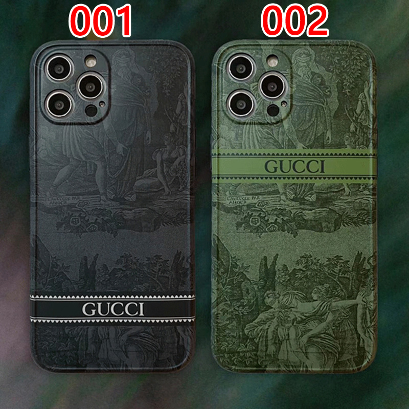 Gucci/グッチ iphone ハイブランド 13 mini/13 pro/13 pro maxケース  経典 絵柄 モノグラム 四角保護