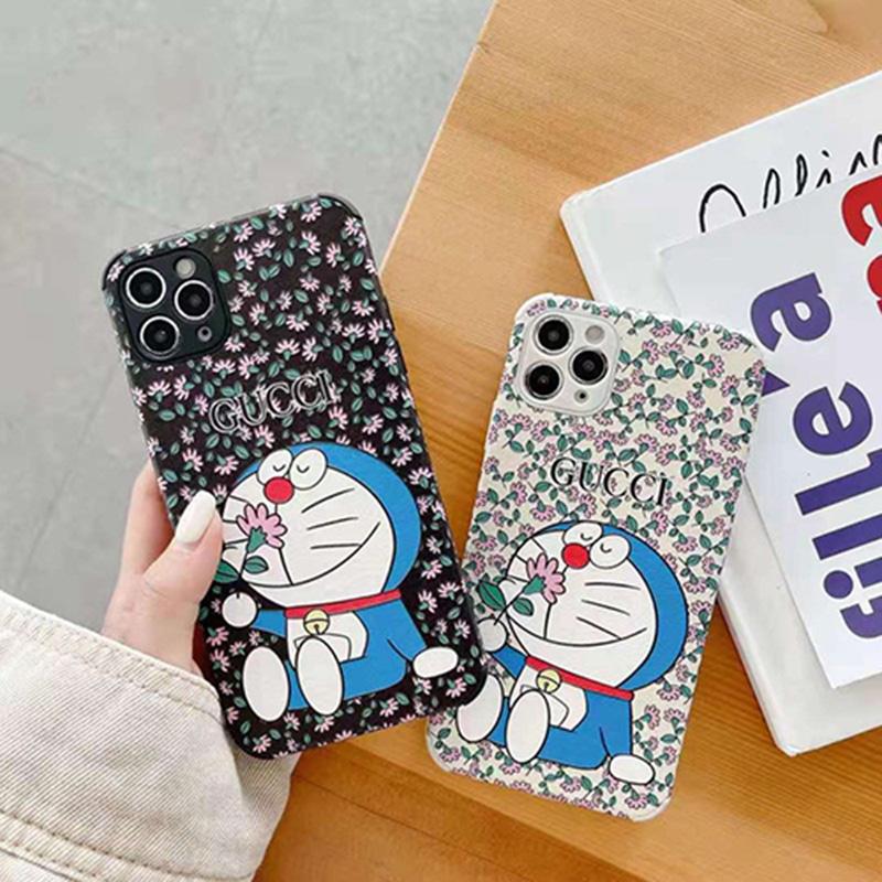 グッチ&ドラえもん コラボ iphone13/12s/12pro/12pro maxケース ブランド 花柄 個性 ジャケット型